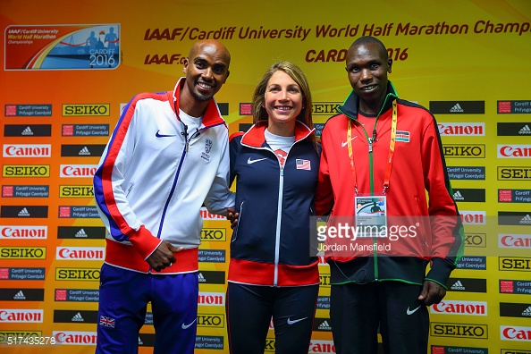 Mo Marah of Great Britain (L), Sara Hall of the USA (C) and Geoffrey Kipsang Kamworor of Kenya (R) pose for a photo during a press conference ahead of the IAAF/Cardiff University World Half Marathon Championships.