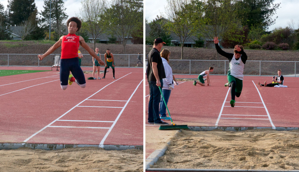 Malcolm Gilliam, 12, Rancho Cotate on left long jumping  had NBL leading marks in both LJ 18-5.25  & TJ 34-4.  Jumper on right is Casa's Kyle Sutton.