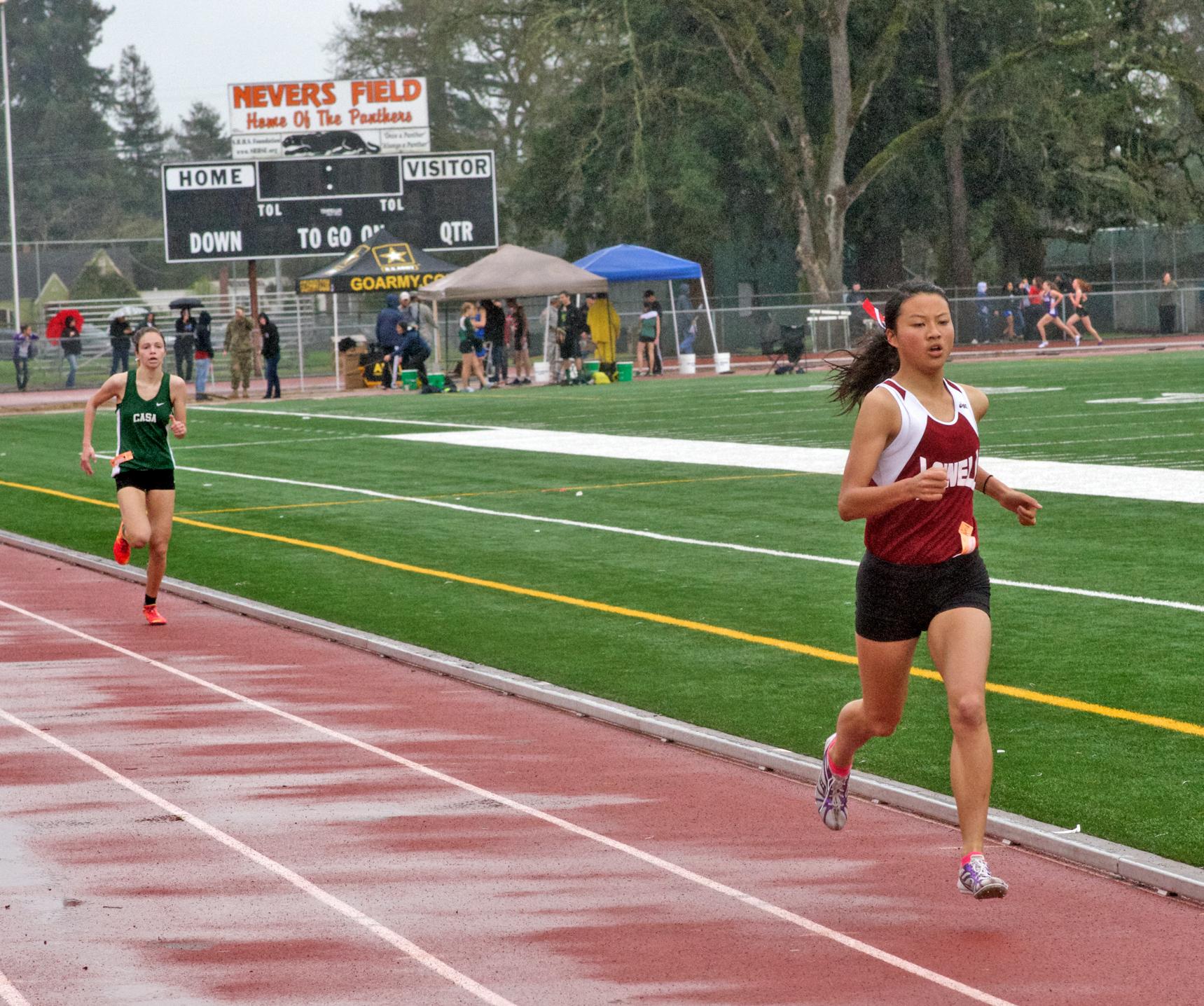 Varsity Girls 1600 winner of Final Heat, Lowell's Kristen Leung