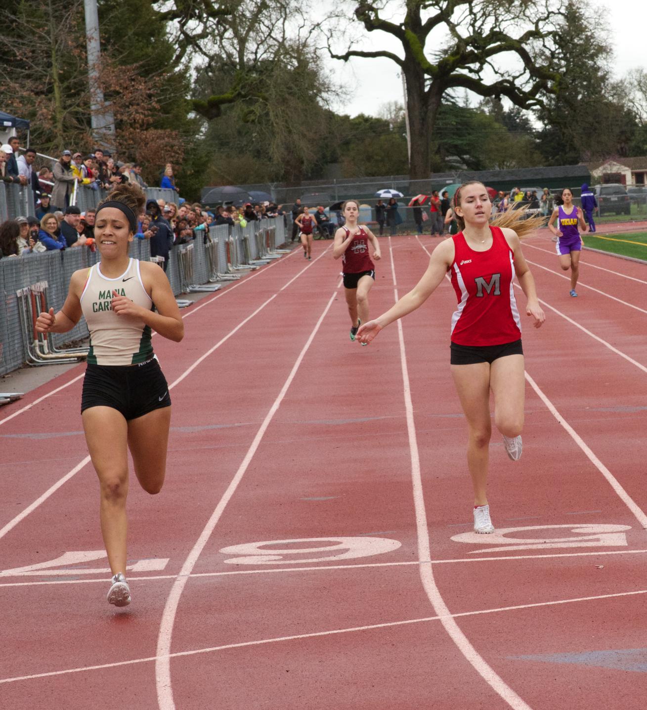 Winner of final heat Varsity Girls 400m