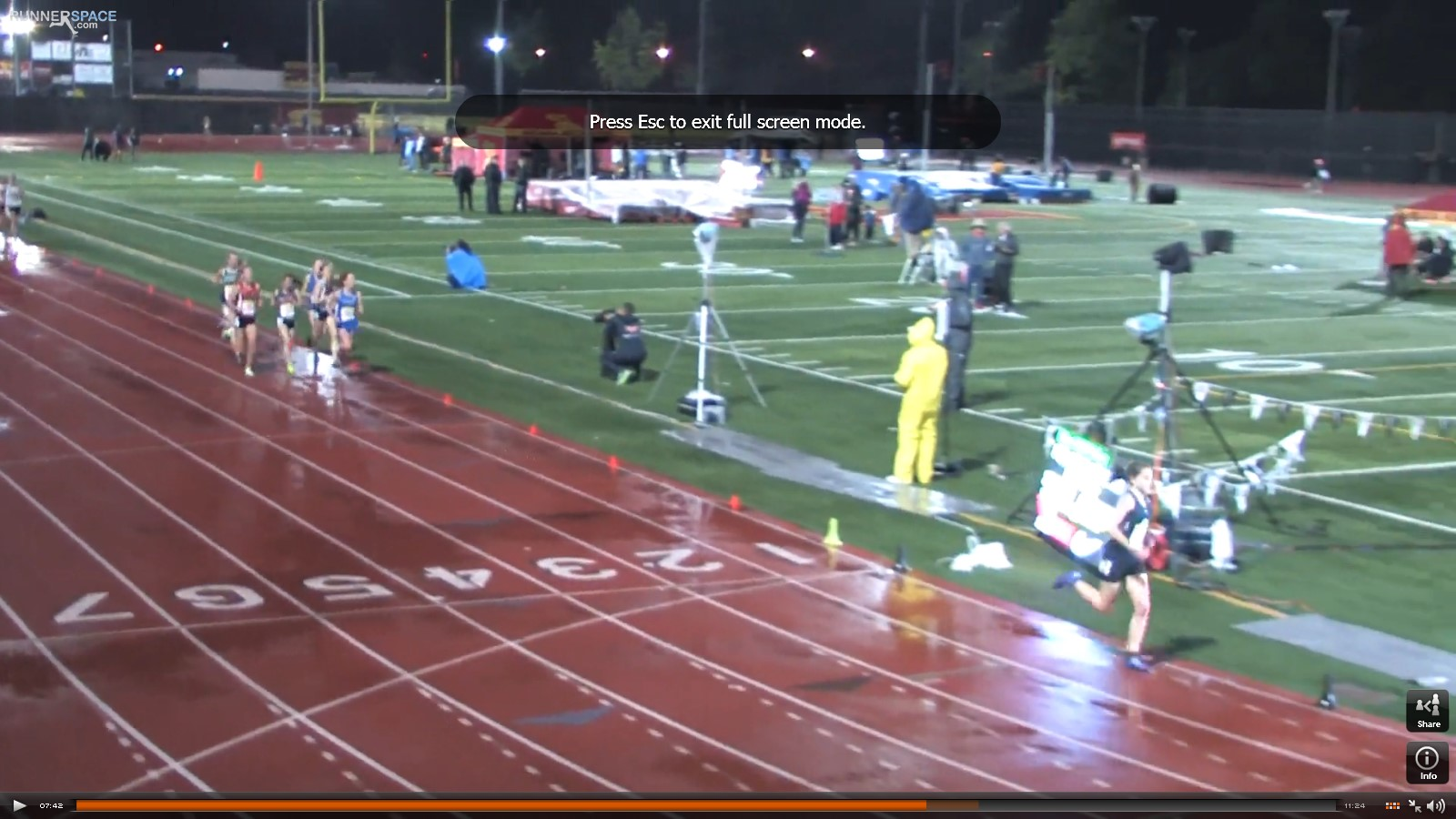 With 2 laps to go Rylee still at back of pack trailing leader, Hannah DeBalsi who would lead almost the entire race, by 15-20 meters.