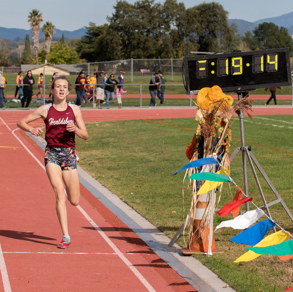 The Winner after pulling away on the Final Hill…….Healdsburg's Gabby Peterson finishing in 19:13